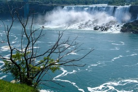 The American-side Falls are only about half the height of the Canadian-side.