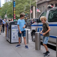 Posing for Mom with the NYPD