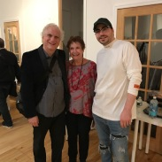 Here I am with my mother and son Evan who arranged the gallery space for us
